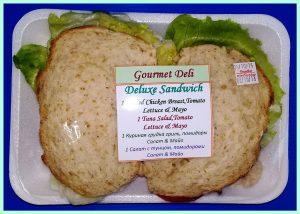 gourmet deli chicken tuna lettuce mayo tomato deluxe sandwich duo