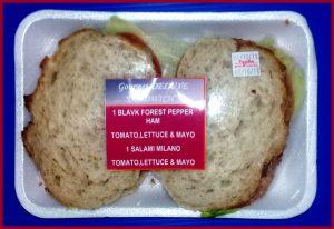 pepper ham black forest tomato lettue mayo salami milano gourmet deli deluxe duo sandwich
